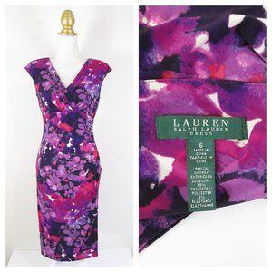 SOLDLauren  Lauren Purple Floral Sheath Dress 6